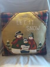 Decorative Throw Pillow Holiday Winter Snowman Snow15x15