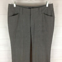 Gap womens size 6 long stretch gray check flat front flare dress career pant EUC