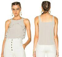 Rachel Comey Avila Sleeveless Silk Ruffle Top Sz 6 Taupe
