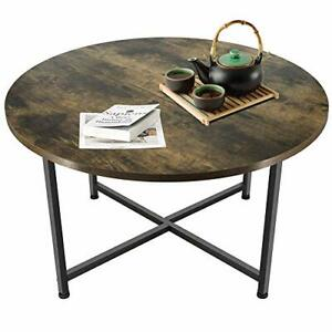 Round Wooden Coffee Table | Sturdy Metal Frame | Industrial Retro Wood Desk