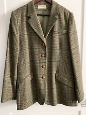 Orvis Wool Tweed Green Plaid Blazer Leather Buttons Hacking Jacket WOMENS SZ 20