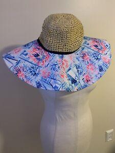 Lilly Pulitzer Sea To Shining Sea Beach Straw Glitter Hat Pink Blue & White