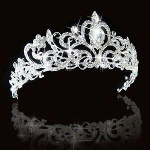 Mariage Princesse Cristal Autrichien Diadème Couronne Voile Cheveux Argent