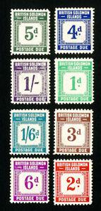 Solomon Islands Stamps # J1-8 VF Slight gum toning OG NH Scott Value $120.00