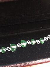 Vintage Grade A Jadeite Jade Bracelet, Whitegold With Tiny Diamonds