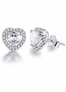 Women's Heart Shaped 8mm Simulated Diamond Sterling Silver Stud Earrings UK