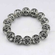 UNIQUE COLLECTABLE TIBET SILVER HAND CARVED HOLLOW SMALL BALL BRACELET.