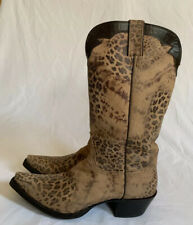 Nocona Women's Fashion Distressed Leopard Western Leather Boots NL5301 Size 11 B