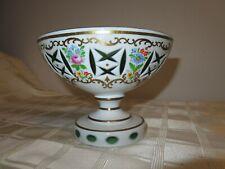 Mid Century Modern Moser Bohemian  Enameled Green Floral Centerpiece Bowl