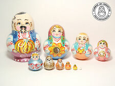 "Nesting Doll Ukraine Family 10 pc, Matryoshka Cossack with a pumpkin 5,5"" (14cm)"