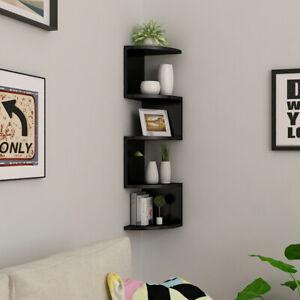 Large Corner Wall Mount Shelf Zig Zag DVD CD Storage Home Display Decor Gift