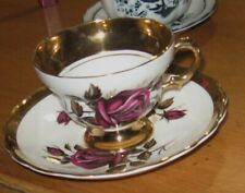 Rosina Bone China England tea cup & saucer DARK PURPLE/PINK Gold Gilt