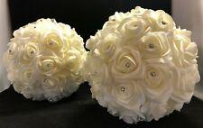 Ivory rose foam flower balls with jewels x2