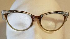 9a066b53241a Vintage MARINE Glasses CAT EYE Eyeglasses U.S.A. 5 1/2 Flower ROCKABILLY