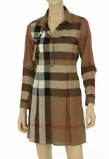 NEW BURBERRY CURRENT LUXURY TAUPE BROWN COTTON CHECK SHIRT DRESS 42/US 8