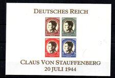 WWII 3RD REICH VON STAUFFENBERG, KILL HITLER. SOUVENIR SHEET. VALKYRIE. FANTASY.