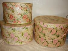 Vintage 3 hatbox pink roses Hat Box Victorian Fowler Dick Walker Wilkes-Barre Pa