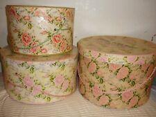 Vintage 3 hatbox pink roses Hat Box Victorian Fowler Dick Walker Wilkes-Barre Pa