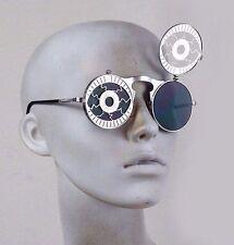 round silver flip up Steampunk sunglasses rave zombie Cosplay cyber punk Hi-Tek