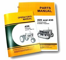 OPERATORS PARTS MANUALS FOR JOHN DEERE 420T 420 TRICYCLE TRACTOR OWNERS CATALOG
