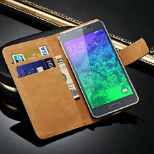 For Samsung Galaxy Alpha G850 Genuine Leather Wallet Flip Case Cover Skin