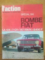 ACTION AUTOMOBILE N°75 1966 Fiat 124 R8 Gordini Spécial ski Salon de Paris