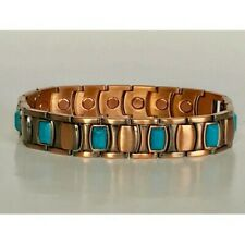 "Magnetic Bracelet Pro Health 8.5"" Copper & Turquoise Alternating Rectangles"