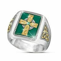 Exquisite Fashion 925 Silver Emerald Irish Celtic Cross Rings Men Jewelry Sz7-13