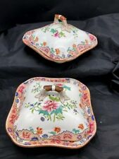 EARLY 1800S SPODE CHINA PATTERN 3154 PAIR OF 91/2 COVERED VEGETABLES FLORAL