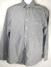 Lacoste Mens 44 XXL Charcoal Gray Striped Long Sleeve Button Down Shirt Cotton