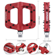 """HIEGOO Mountain Bike Pedals Bicycle Flat/Platform Pedals for BMX MTB 9/16"""" Red"""