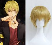 Durarara Heiwajima Shizuo Cosplay Wigs Short Golden Blonde Short Hair Full Wig
