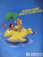 PUBLICITÉ DE PRESSE 1979 HEUREUX COMME ANISETTE 51 DANS L'EAU - ADVERTISING