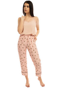 RRP €125 CYCLE Pyjama Pants Size L Silk Blend Bee Pattern Cropped Made in Italy
