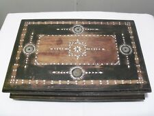 LARGE VINTAGE WOODEN HINGED TRINKET BOX WITH MOTHER OF PEARL INLAY