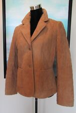 Brooks Brothers Quilted Camel Leather Field Jacket/Coat Sz 6