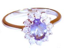 Anillos de joyería con diamantes naturales de oro blanco tanzanita