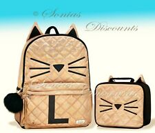 "Justice Initial ""L"" Gold CAT Quilted Backpack+Lunch Tote Set-NWT-Simply Elegant!"