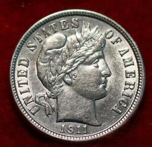 Uncirculated 1911 Philadelphia Mint Silver Barber Dime