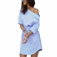Shirt Dress Womens Summer One Shoulder Striped Sashes Mini Short Casual Dresses