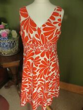BODEN Size 16L Orange and White FLORAL Cotton Lined Summer Dress