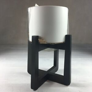 Ceramic Planter With Wood Stand White Black
