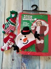 0-9 Months Santa Claus Bunting Child Christmas Holiday Costume Snowman Hat Socks