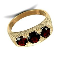 Gents Garnet Trilogy Ring Solid 9 Carat Yellow Gold Handfinished Hallmarked
