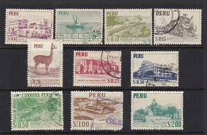 PERU #457-466 USED VICUNA, BUILDINGS, BOATS, TRAIN, PARAMONGA FORTRESS & VIEWS