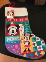 Disney Christmas Holiday Mickey & Minnie Mouse Santa Stocking NWT - Ships Fast