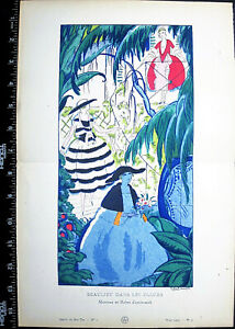 Gazette du bon,Art deco pochoir print,R.Bonfils,Beaulieu dans les fleurs,1820