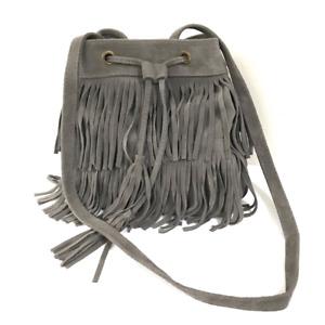 Italy BoHo Crossbody Purse Hobo Bag Gray Suede Leather Drawstring Fringe Tassel