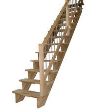 Aufgesattelte Massivholztreppe Lindos gerade, Breite: 80cm Holztreppe-Buchenholz