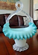 WEBB Art Glass Spiral Footed CASED BASKET Blue Satin Candy Dish Thorn Handle